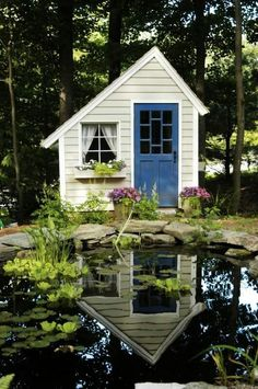 Tiny cottage and pond.