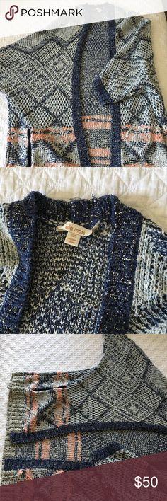 Ella Moss Blue/Pink Cardigan, XS Three-quarter length blue/pink patterned cardigan. Ella Moss Sweaters Cardigans