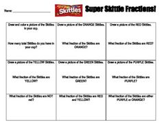 This is a super fun worksheet that can be used as either independent practice or as a mini-lesson to teach fractions.  The students will need a copy of the worksheet, individual bags of skittles, a pencil, and markers/colored pencils/crayons.