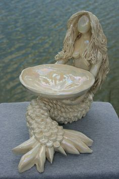 Mermaid Soap Dish sculpture by Elliesmermaids on Etsy, $95.00