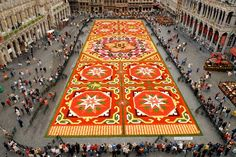 Flower Carpet at the Grand Place of Brussels in Belgium.