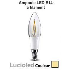 Ampoule led E14 Flamme Filament 3W blanc chaud