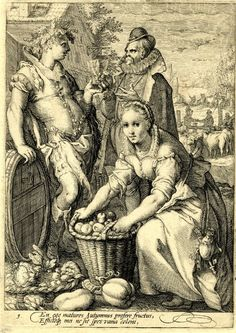 Four seasons  Museum number  D,5.241  Four seasons  Autumn; a woman stoops to lift a basket full of fruit; behind her a man wearing a vine leaf wreath leans against a wine barrel and passes a goblet to a gentleman with a ruff; beyond at right cows are herded Engraving  After: Hendrick Goltzius ;  Print made by: Jan Saenredam (or Goltzius workshop as unsigned)   School/style Dutch   1595 (circa) © Trustees of the British Museum