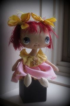 Tiny  cloth doll an original by suziehayward on Etsy, $59.00