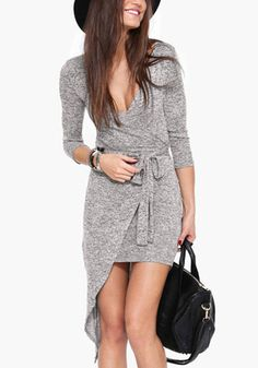 Love this asymmetric grey wrap dress for Fall