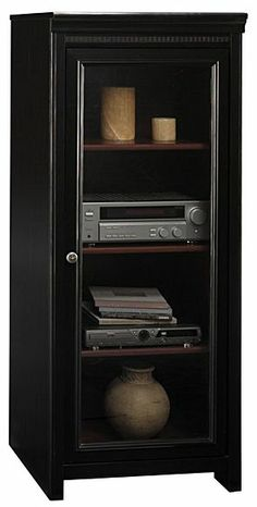 Bush Stanford Collection Audio Cabinet Black And Cherry