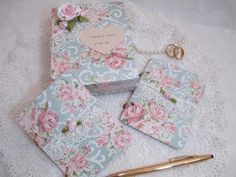 Wedding Vow Book Set  Pink and Light Teal/ by TheMemoryKeeperShop