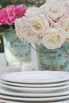 FRENCH COUNTRY COTTAGE: Vintage inspired buckets