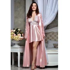 Blush pink bridal peignoir set Bridal lingerie wedding night Satin lace kimono bride robe and nightgown Bridal shower gift for sister - Lingeries Lace Bridal Robe, Bridal Robes, Blush Bridal, Bridal Nightgown, Wedding Blush, Burgundy Wedding, Lace Wedding, Pink Nightgown, Wedding Night Lingerie