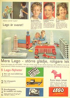 "Here's a 1963 magazine ad from Sweden, talking about the new ""LEGO Wheels"". with lots of nice glued models in the background. Lego Wheels, Vintage Lego, Kewpie, Magazine Ads, Tin Toys, Toy Trucks, Doll Toys, Old Things, Advertising"