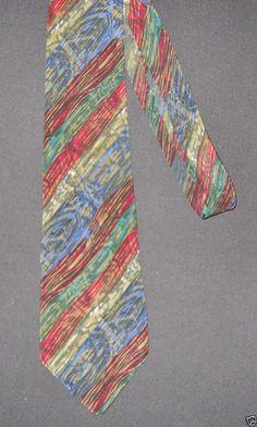 Garcia Tie Mens Silk Necktie Muted Blue Maroon Green  #JGarcia #NeckTie