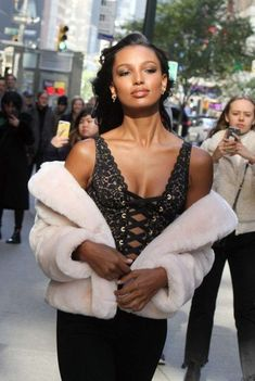 Stunningly Beautiful, Black Is Beautiful, Beautiful Women, Fashion Sites, Fashion Models, Jasmine Tookes, Victorias Secret Models, Black Lace Tops, Models Off Duty