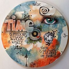 This is a clock face that will be collaborated with a wood and metal holder my husband is making. It is exciting to work together! I will post the full clock when he is finished. Mix Media, Mixed Media Art, Art Journal Inspiration, Painting Inspiration, Art Journal Pages, Art Journaling, Art Journal Techniques, Encaustic Art, Letter Art