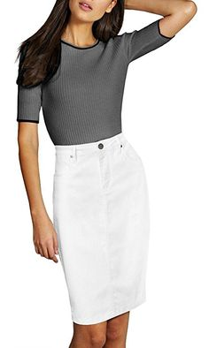 d2a218fc3a Womens Pull on Stretch Denim Skirt WHITE This Comfortable & Stretchy Denim  Skirt is perfect for any occasion. The blend of Cotton and Spandex makes  for a ...