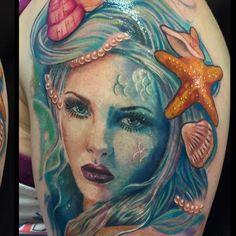 Face fully healed  #shells some hair fresh #mermaid #mermaidtattoo #mermaidportrait #colourportrait #colourrealism #colorrealismtattoo #realistictattoos #girlytattoos #ladyhead #underwatertattoo #starfishtattoo #colorportraittattoo #colourfultattoo #uktta #ukbta #support_good_tattooing #inkjunkyz #tattoo_art #tattoosnob #tattoofinest #dullenclothing @jaynedoetattoo
