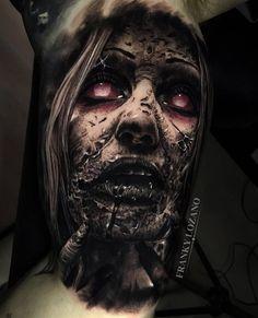 Image may contain: 1 person Mädchen Tattoo, Tattoo Bein, Dark Art Tattoo, Demon Tattoo, Sick Tattoo, Gothic Tattoo, Grey Tattoo, Evil Tattoos, Creepy Tattoos