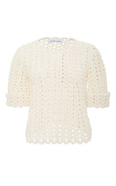 From the label known for its proprietary hand crocheted knitwear, this **Spencer Vladimir** top is crafted in a unique wave stitch in heavyweight silk.
