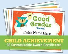 Child Certificates Achievement - 20 great certificates to recognize kids' accomplishments. Personalize, print and present! Certificate Of Achievement Template, Award Certificates, Classroom Helpers, Classroom Board, Classroom Decor, Kids Awards, Santa's Nice List, Award Template, Flashcards For Kids