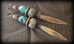 Ancient Roman Glass, Lampwork Glass, Primitive,Organic, Rustic, Earthy, Patina Slabs, Beaded Earrings by YuccaBloom on Etsy