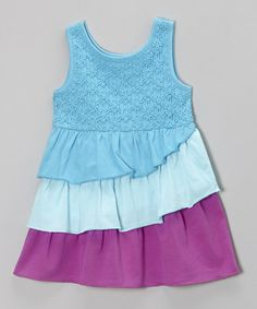 Loving this Aqua Wave Daisy Tiered Dress - Infant, Toddler & Girls on #zulily! #zulilyfinds