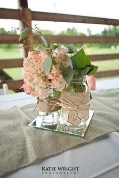 Wedding DIY - Burlap Mason Jar Centerpieces - Katie Wright Photography Not all about the burlap but lace would be cute! Mirrors are a nifty idea! Diy Wedding Decorations, Wedding Centerpieces, Wedding Table, Rustic Wedding, Our Wedding, Dream Wedding, Wedding Ideas, Wedding Burlap, Wedding Vintage