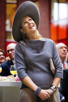 Dutch Queen Maxima looks up during the opening of the new Isala hospital in Zwolle, The Netherlands, 17.10.13.