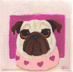 Heart Scarf - Original Pug Painting by Claire Chambers / Chickenpants Studio Your Paintings, Original Paintings, Original Art, Pug Illustration, Pug Art, Pugs, Stretched Canvas, The Originals, Studio