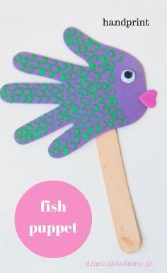 handprint fish puppets - craft for kids