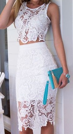 28 Gorgeous Bachelorette Outfits With A Wow Factor: Sexy lace two piece dress with a midi skirt Pretty Dresses, Beautiful Dresses, Mode Hippie, Outfit Trends, Lace Crop Tops, Lace Tank, Lacy Tops, Two Piece Dress, White Outfits