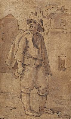 'Spazzacamino' (Chimney Sweep), Annibale Carracci about 1590. / This is the only surviving example of a series of seventy-five drawings depicting Bolognese street-traders that Annibale made around 1590.