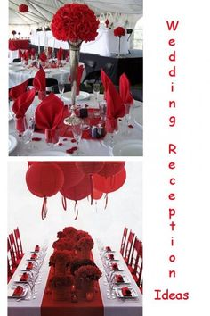 Red & White Wedding Reception Ideas or red and black....or red and grey...hmm