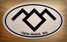 Twin Peaks Stickers, Black Lodge symbol on 4x3 oval sticker with Twin Peaks, WA…