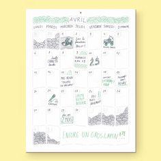 Wall Memo Calendar, calendrier intemporel à accrocher au mur, édition Moulin Flèche