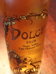 """Dolce was created back in 1985 by the partners of Far Niente (""""dolce far niente"""" being an Italian-idiom for a """"sweet idleness""""). The winery is still the only winery (North America) which produces a single late-harvest dessert wine. Few other wineries are crazy enough (and have enough cash) to back up such a project! $85"""
