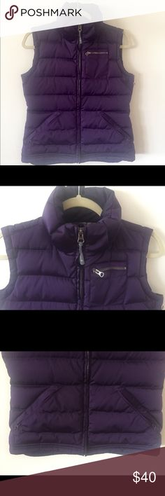 Athleta Puffy Jacket Vest. Size S. Beautiful vibrant purple goose down vest from Athleta. Excellent condition. Zipper Breast pocket plus two zippered side pockets, angled diagonally. Missing hood and price has lowered because of this. Athleta Jackets & Coats Vests