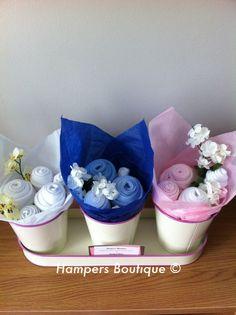 Baby flower pots each Kennedy Monroe, Baby Hamper, Handmade Baby Gifts, Baby Flower, Gift Hampers, Hamper Ideas, Flower Pots, Baby Shower Gifts, Party Favors
