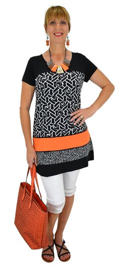 Orange Link Tunic-Best selection of Tunics & matching accessories ~ Flat postage worldwide ~ Petite to Plus sizes ~ www.ilovetunics.com