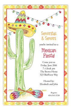 Fiesta Cactus Invitation from The Rosanne Beck Collection