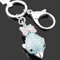 Fish-shaped Keychain, Made of Rhinestones and Zinc Alloy, Available in Various Colors and Designs