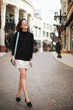 black sweater + lace white skirt + black flats