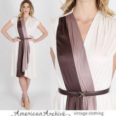 vtg 70s Ivory Striped Disco Mini Draped Wrap Colorblock Party Hippie Boho Dress #Unbranded #Casual #Dresses