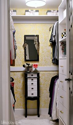Master Closet Makeover and Stenciling a Glam Wall. Lots of ideas to make your space both functional and pretty.