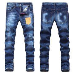 Dsquared2 D2 Long Jeans, Top Quality! High-Grade Denim Jeans, Famous Brand Men's Cotton Jeans