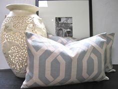 SALE Duck egg blue lattice cushion 30x50cm by belljarinteriors, $25.00