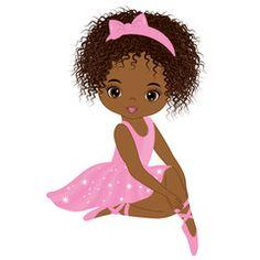 Illustration of Vector cute little African American ballerina in pink tutu dress. African American ballerina vector illustration vector art, clipart and stock vectors. Black Love Art, Black Girl Art, Art Girl, Black Ballerina, Ballerina Party, Ballerina Barbie, Pink Tutu Dress, Illustration, African American Art