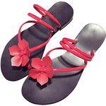 LUCLUC Red Flat Pu Flower Sandals