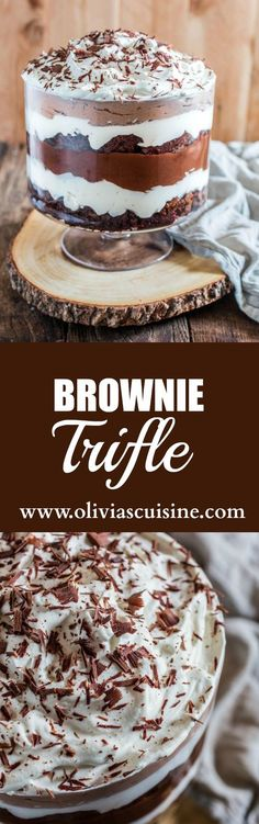Brownie Trifle. An impressive easy and rich dessert that feeds a crowd! All you have to do is layer brownies whipped cream and chocolate pudding. What could be easier than that?