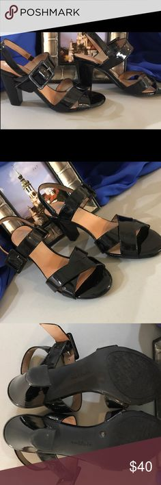 """🌹Nurture Classy Ladies Sandals-Sz 7 1/2M🌹 Beautiful Nurture Sandals from Dillard's Size 7 1/2 M- Classy 3 1/2"""" Heel- Great Condition with 1 tiny scratch on one heel as displayed in pictures, Black Patent Leather, Leather upper and inside lining with manmade sole....don't miss these they are GORGEOUS🌹🌹🌹 Nurture Shoes Heels"""