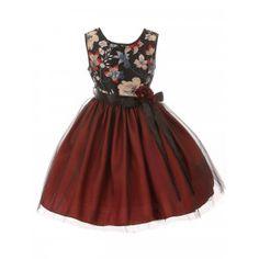 95f3af544cc SophiasStyle · Christmas Dresses! Little Girls Burgundy Floral Trim  Overlaid Tulle Flower Girl Dress 2-6 Girls Christmas Dresses