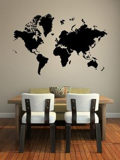 World Map Wall Mural Vinyl Decal Black - $15-$40 (depending on size) Etzy: https://www.etsy.com/ca/listing/80479526/world-map-vinyl-decal-wall-sticker-wall?ref=sr_gallery_2&ga_search_query=wold+map+wall+decal&ga_search_type=all&ga_view_type=gallery OR Amazon: http://www.amazon.ca/World-Sticker-Vinyl-Graphic-Transfer/dp/B00CCCLQDY/ref=sr_1_7?ie=UTF8&qid=1415248754&sr=8-7&keywords=world+map+wall+decal